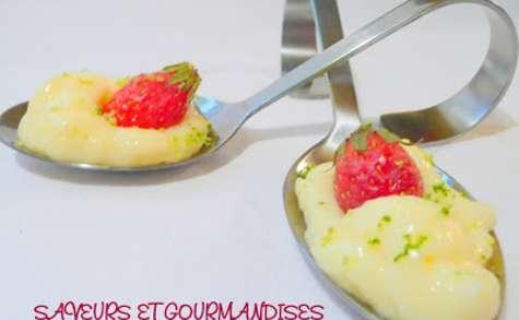 Crème de rose et gariguettes au citron vert.