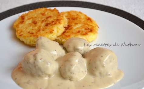 Boulettes aux oignons, sauce moutarde et balsamique et galettes de riz à la mozzarella