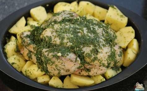 Poulet rôti aux herbes et pommes de terre