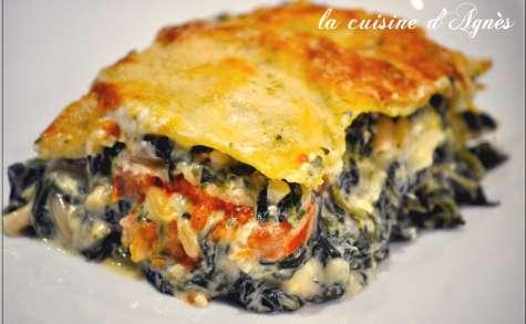 Lasagnes aux épinards pignons et feta