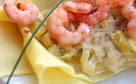 Lasagne légère aux crevettes et fondue de poireau