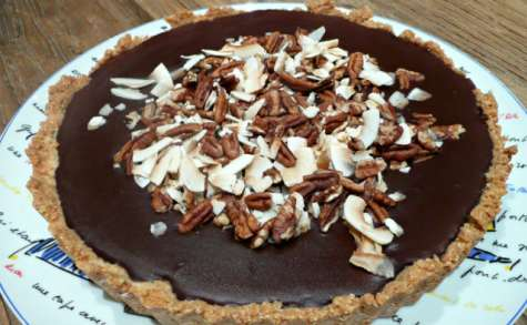Tarte chocolat, amande et noix de coco