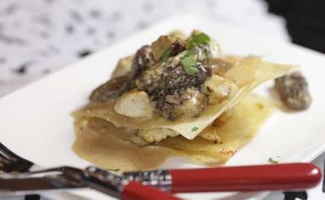 Mille feuilles de dinde aux morilles et au foie gras