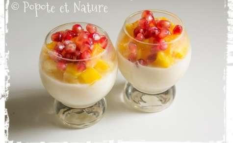 Riz au lait vanillé aux fruits frais exotiques (mangue, ananas,grenade, orange)