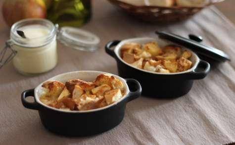 Bread pudding aux pommes et sa crème anglaise au calvados