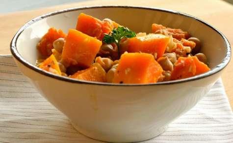 Mijoté de potiron aux pois chiches et abricots secs