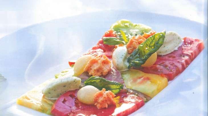 Méli-mélo de tomates, sorbet tomate-basilic