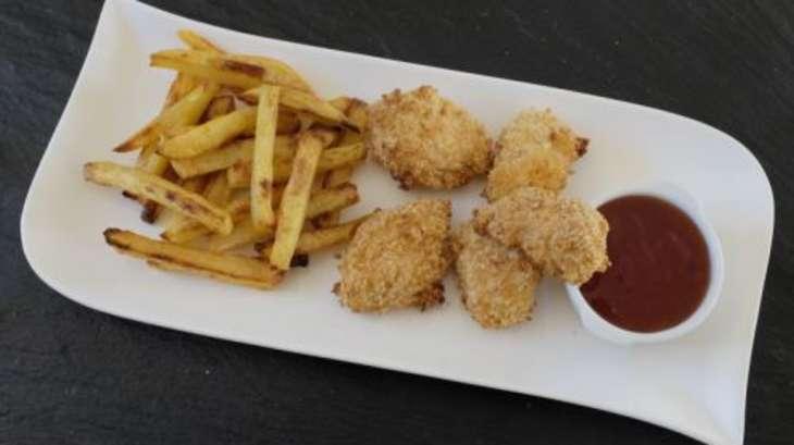 nuggets de poulet sauce aigre douce et frites pic es au four recette par mamou co. Black Bedroom Furniture Sets. Home Design Ideas