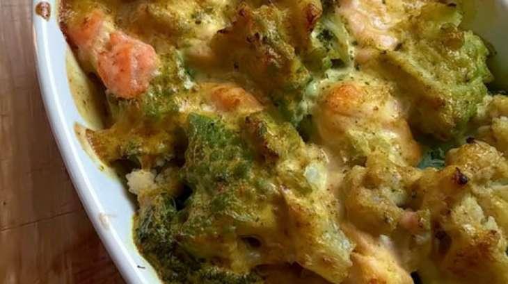 Gratin de saumon aux 3 fleurettes, Sauce Curry
