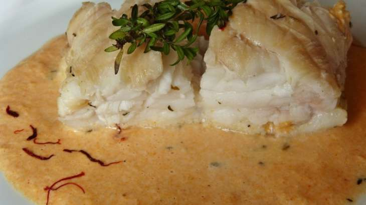 Queue de lotte r tie et sa sauce corail cr m e au vermouth recette par carmen - Cuisiner une queue de lotte ...