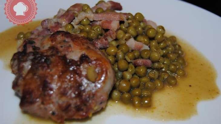 Cr pinettes de porc aux petits pois et lardons recette par les gourmandises de kimaya - Cuisiner petit pois carotte en boite ...