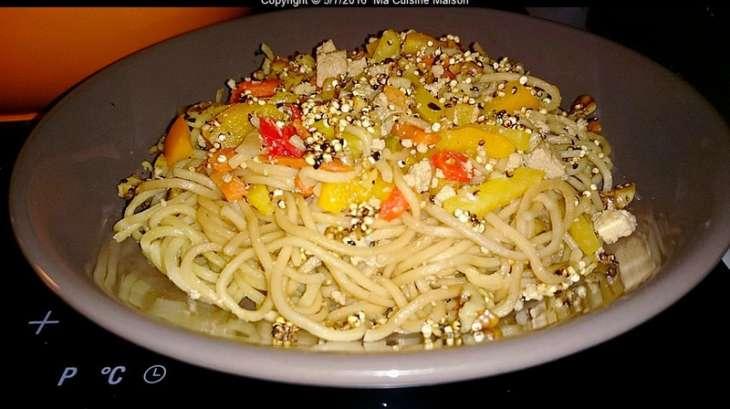 Wok de tofu marine, légumes aux graines de sésames et noix torrefies