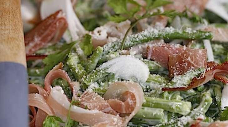 Haricots verts carbonara au jambon de pays
