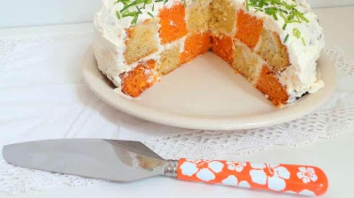 Gâteau damier salé aux poivrons et au chèvre