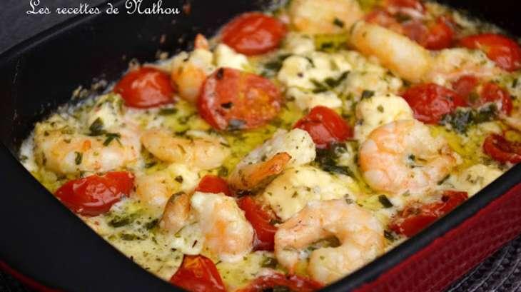 Scampis l 39 ail feta et tomates cerise au four recette - Cuisiner le cabillaud au four ...