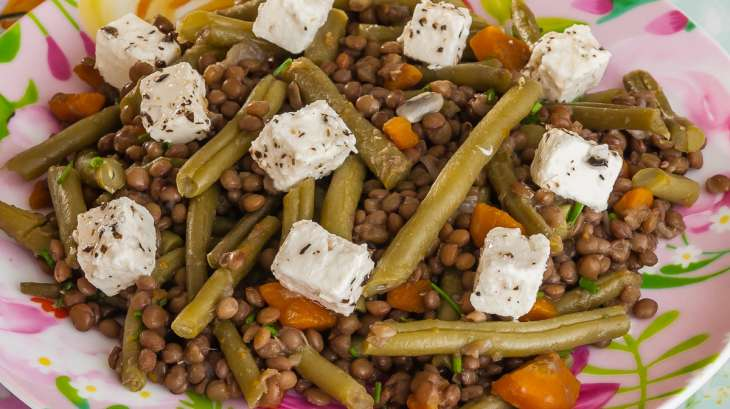 Salade de lentilles aux haricots verts et la f ta - Cuisiner les haricots plats ...