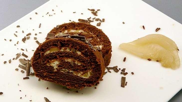 biscuit roul choco poire simple gourmand recette par simple gourmand. Black Bedroom Furniture Sets. Home Design Ideas