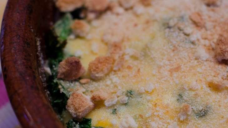 Gratin de chou kale et de pommes de terre au cheddar