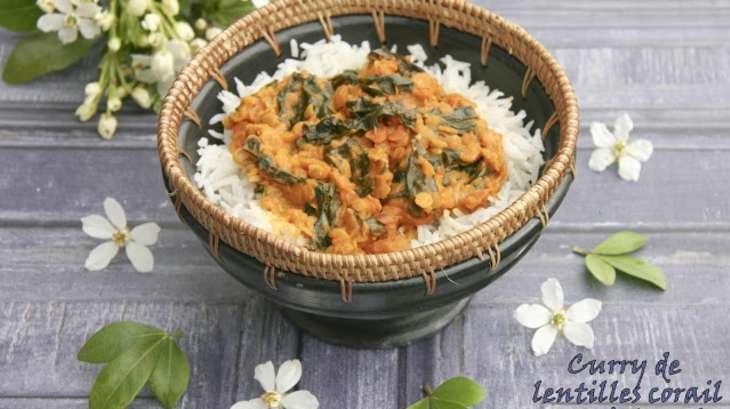 Curry de lentilles corail aux épinards