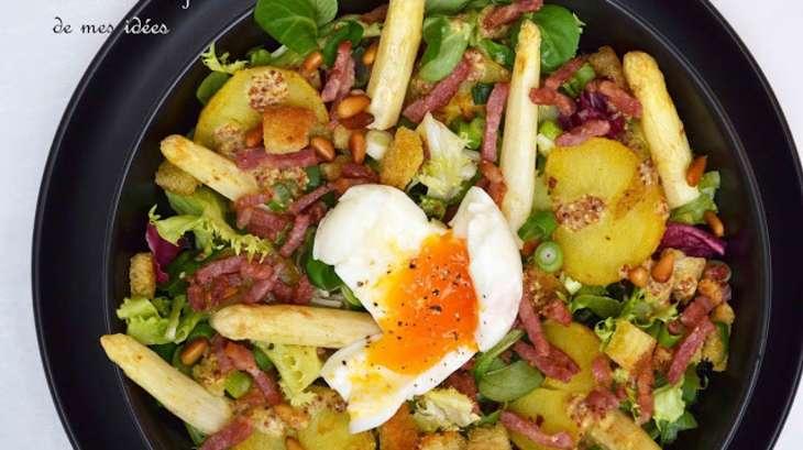 salade ti de aux pommes de terre asperges lardons et oeuf mollet recette par ma cuisine au. Black Bedroom Furniture Sets. Home Design Ideas