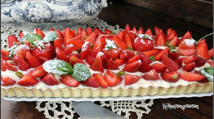 Tarte aux fraises, crème madame à la cardamome verte