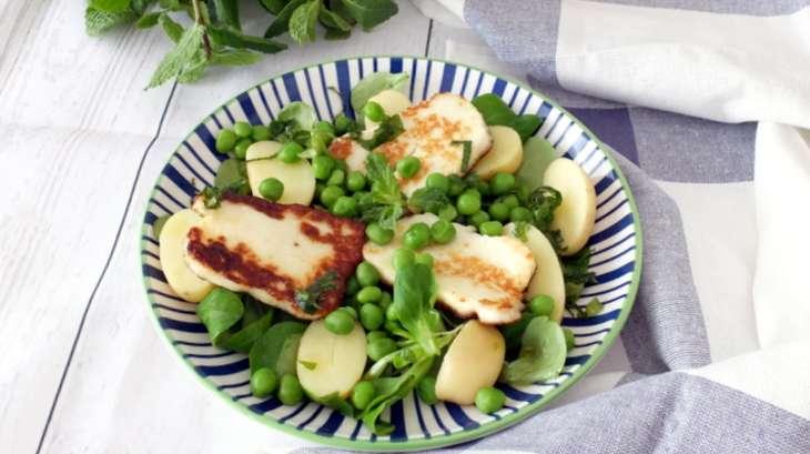 Salade de petits pois frais l halloumi recette par - Cuisiner les petits pois frais ...