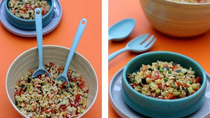 Salade de riz complet, lentilles corail, avoine et légumes