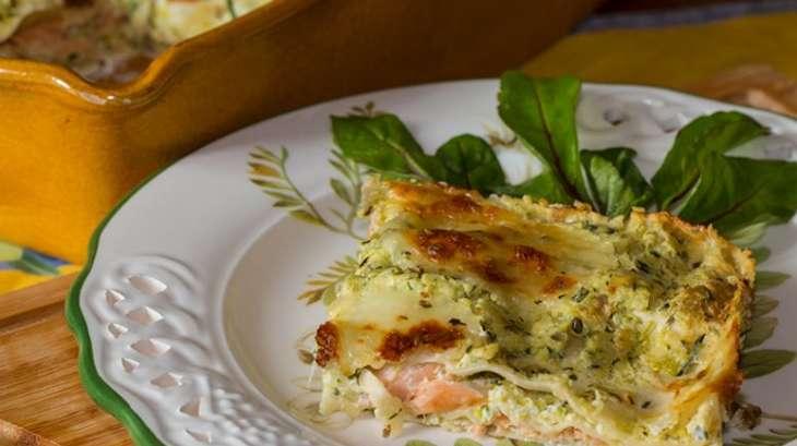 Lasagnes aux courgettes et saumon fumé