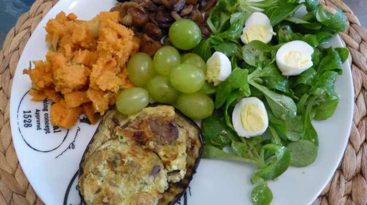 Aubergines grillées et leur omelette aux champignons