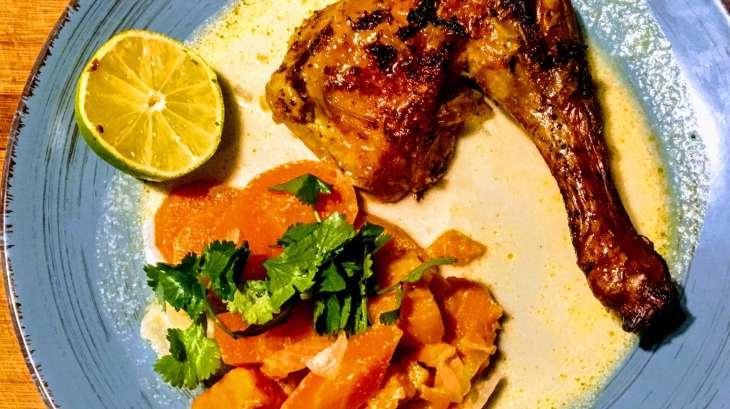 Poulet rôti à la mode colombo et ses légumes au lait de coco