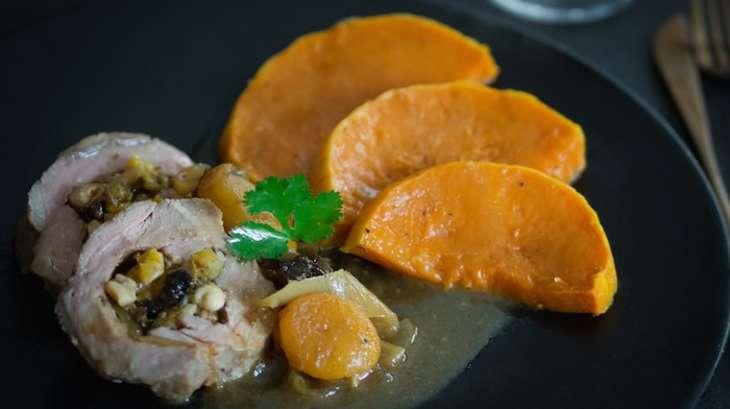 R ti de veau farci au foie gras fruits secs gewurtztraminer et butternut r tie recette par - Cuisiner un roti de veau ...