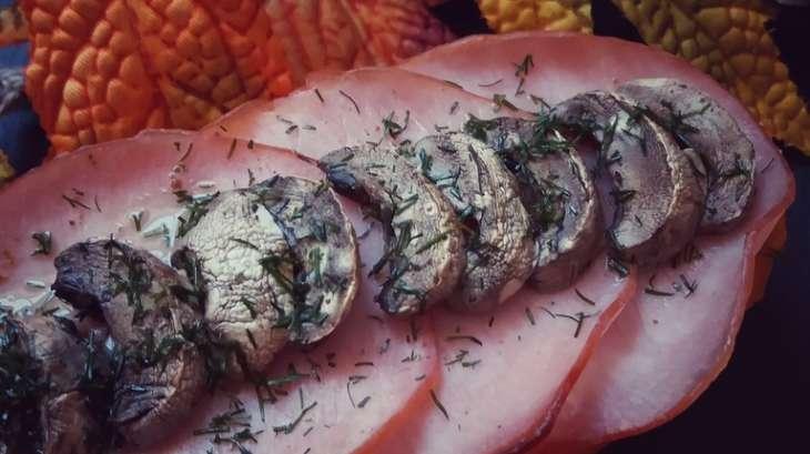 Patate douce au bacon et champignons