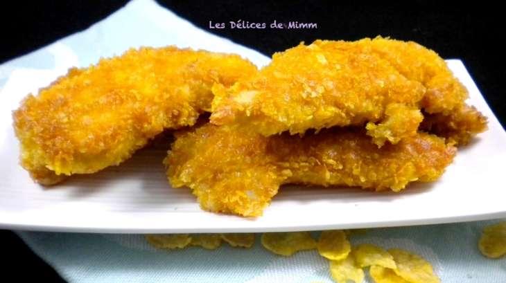Aiguillettes de poulet panées aux corn flakes