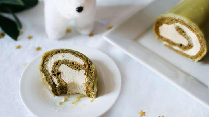 Bûche de Noël au matcha, chocolat blanc et vanille