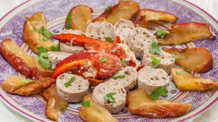 Boudin blanc et homard aux pommes