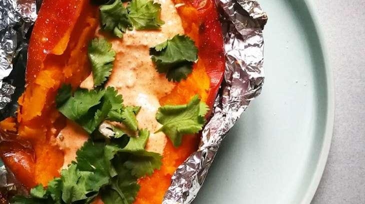 Patate douce rôtie, sauce crémeuse paprika fumé et chipotle