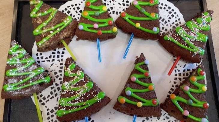 Moelleux chocolat, sapins de Noël