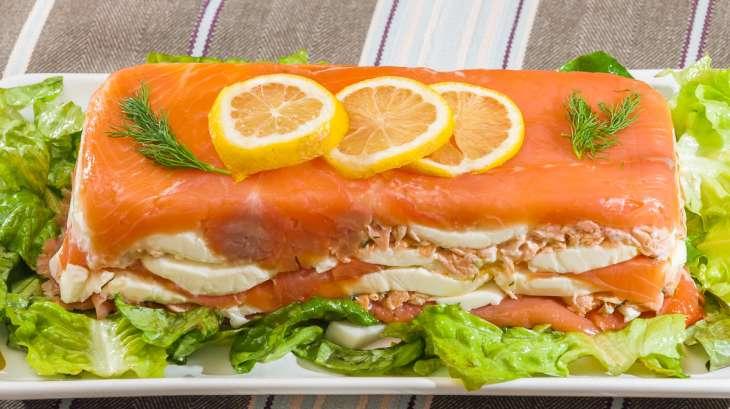 Terrine de truite fumée au saumon et à la mozzarella