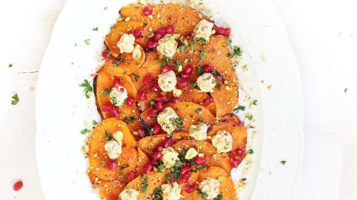 Patates douces rôties, ricotta et pistaches