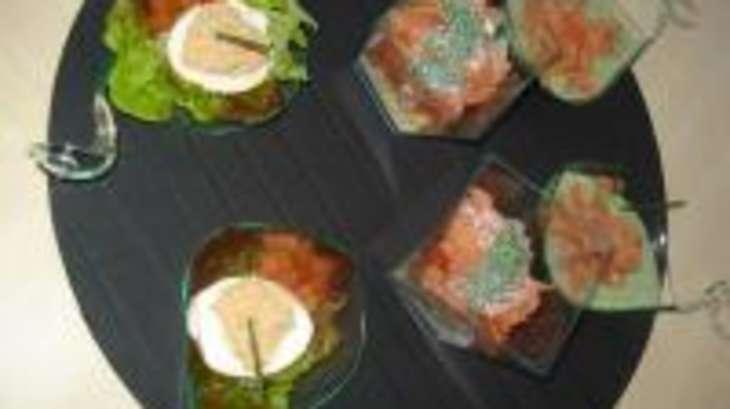 Trio de Verrines au Saumon/Cresson, Tomates et Foie Gras