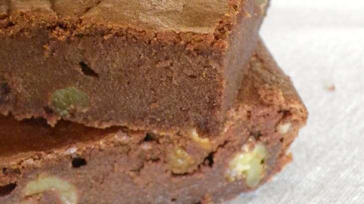 brownie au chocolat noir et noix, sans beurre à la compote de