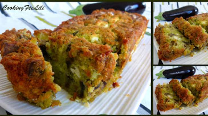 Cake à l'aubergine, pesto et féta