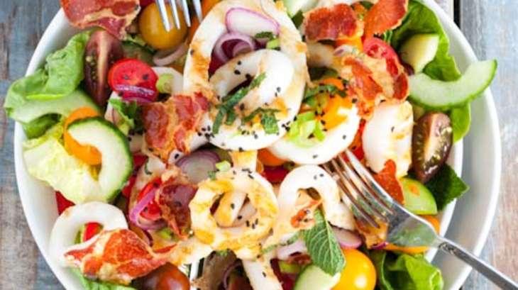 Salade terre mer encornets chips de coppa et vinaigrette - Cuisiner des encornets ...