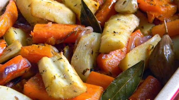 Légumes rôtis au jus d'orange et graines de cumin