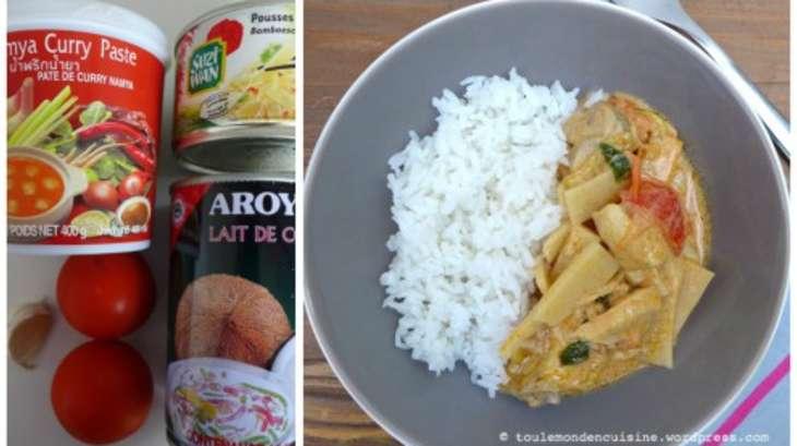 poulet tha au curry rouge pousses de bambou et lait de coco recette par tout le monde en. Black Bedroom Furniture Sets. Home Design Ideas