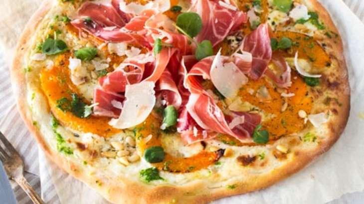 Pizza Courge Jambon de Parme et Pesto de Cresson