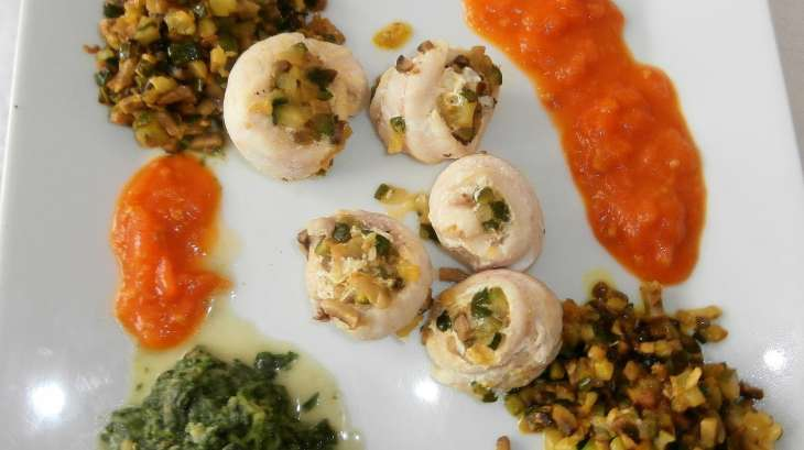 Filet de grondins, duxelles de champignons et courgettes aux épices