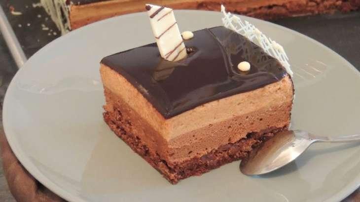 entremets aérien chocolat praliné, croustillant feuilletine