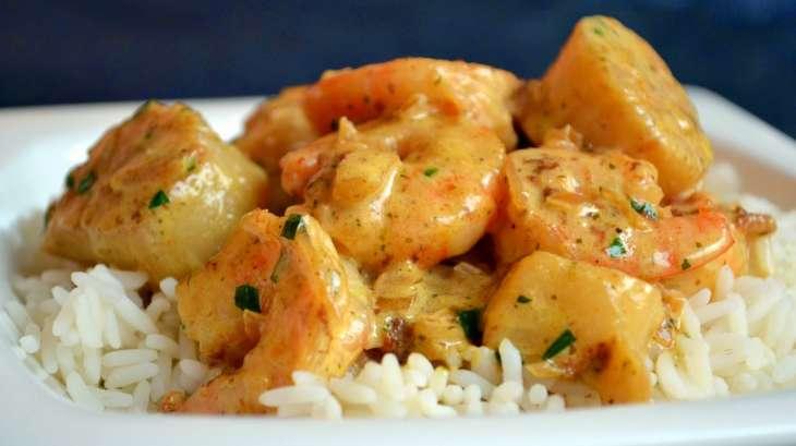 Riz au gambas et saint jacques sauce curry et estragon recette par ma cuisine au fil de mes id es - Saint jacques au curry ...