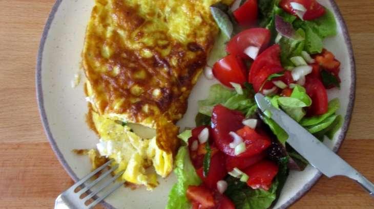 Omelette au chèvre frais et à la menthe